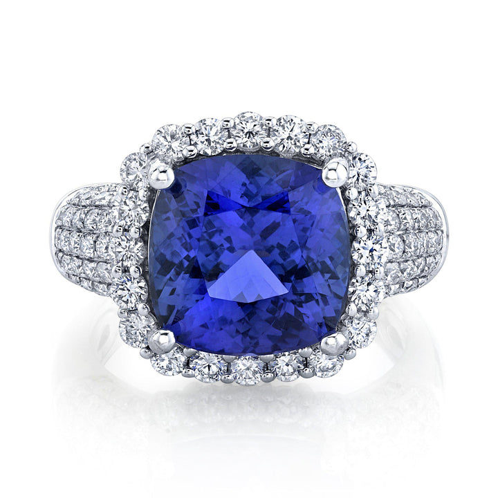 TVON - 5.23Cts Anticushion Natural Tanzanite Gemstone and Diamond - Vintage Ring for Women in 14K Gold with Prong Setting - SR11575 - 1