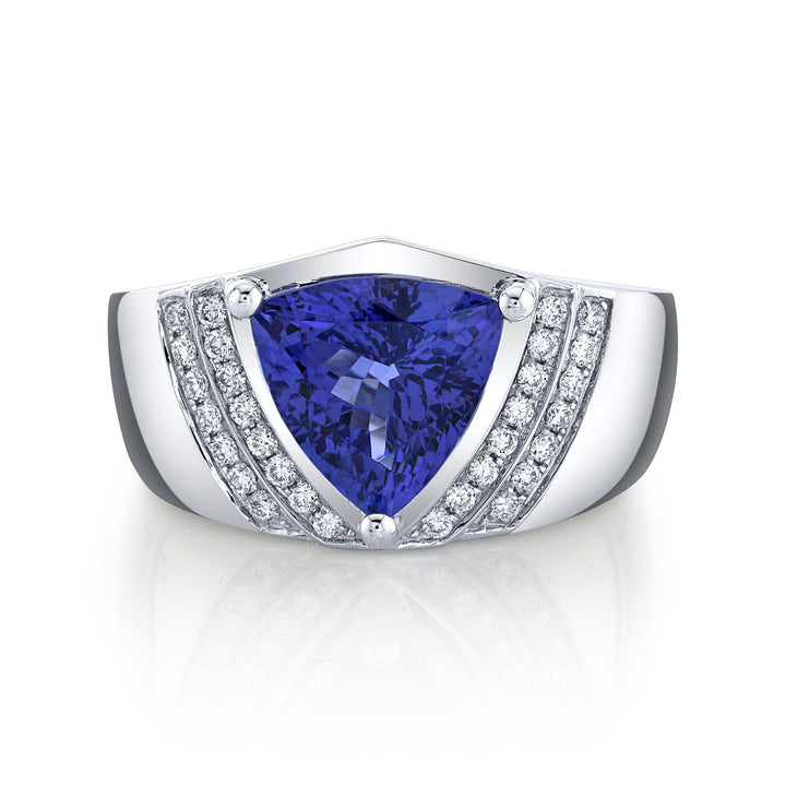 TVON - 2.84Cts Trillion Natural Tanzanite Gemstone and Diamond - Vintage Ring for Women in 14K Gold with Prong Setting - SR11576 - 1
