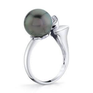 TVON - Sphere Natural Tahitian Black Pearl GemStone and Diamond - Signature Design Ring for Women in 14K Gold with Prong Setting - 2