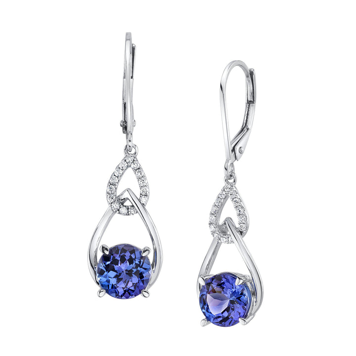 TVON - Round Natural Gemstone and Diamond,  Dangle Earring for Women in 14K White Gold with Prong Setting Lever Back - Back Finding - SE10366 - 3