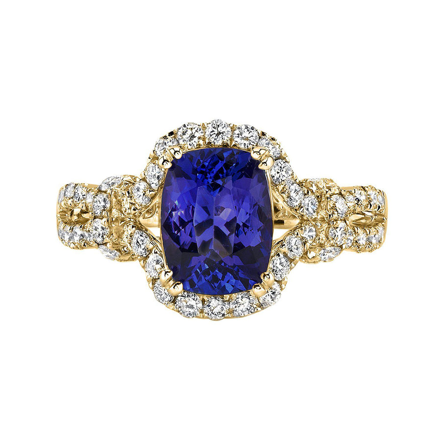 TVON - 1.62Cts Cushion Shape Tanzanite Gemstone and Diamonds Ring in 14K Gold for Women, Vintage Style Ring - SR11127
