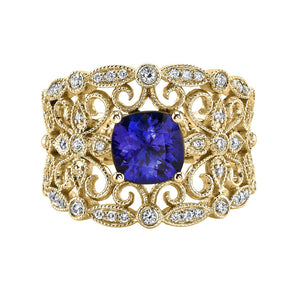 TVON - 1.29cts Cushion Shape Blue Wing Tanzanite with White Diamonds Ring in 14K Gold for Women - Vintage Style Ring - SR11543