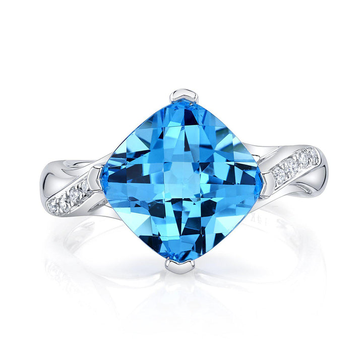 TVON - 4.73Cts Anticushion Checkerboard Natural Swiss Blue Topaz Gemstone and Diamonds - Solitaire Ring for Women in 14K Gold with Prong Setting - R10330 - 6