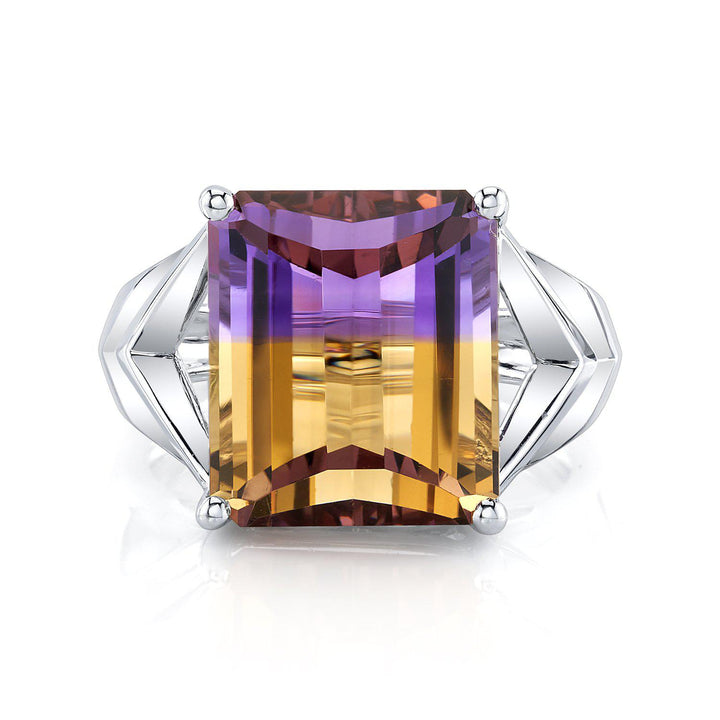 TVON - 9.16Cts Emerald Cut Roll Top Natural Ametrine Gemstone - Vintage Ring for Women in 14K Gold Setting - R10945 - 9