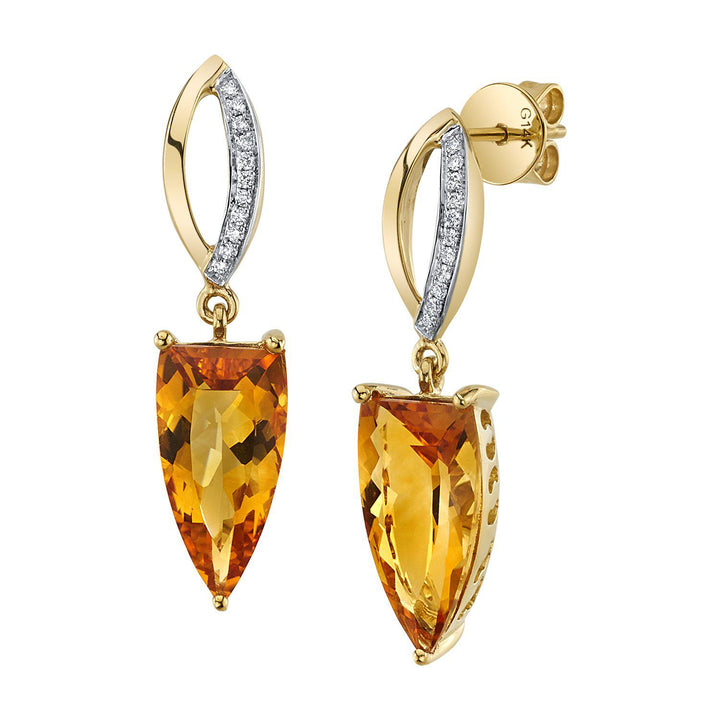 TVON - 4.6Cts Half-Marquise Natural Gemstone and Diamonds - Drop Earring for Women in 14K Gold with Prong Setting and Post Back - Back Finding - E10009 - 3