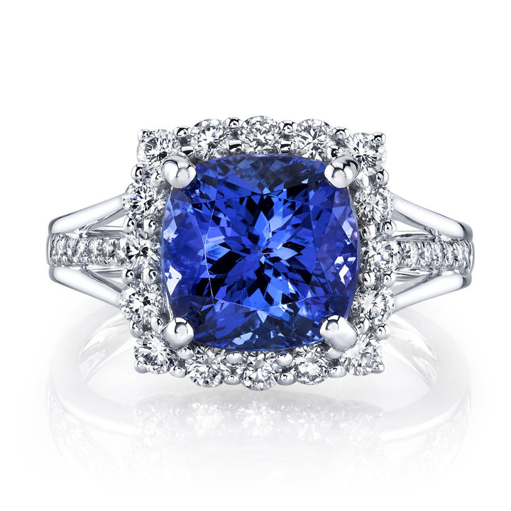TVON -  3.67cts Cushion Shape Tanzanite and Diamond Ring for Women in 14K Gold - Vintage Style Ring - SR11149 - 8
