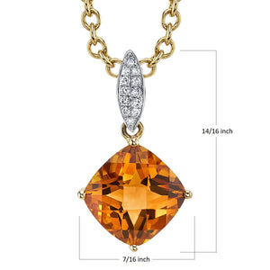14K 2.57 Cts Citrine 0.05 Cttw VS Diamond Pendant