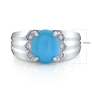 14K 1.98 Cts Turquoise 0.08 Cttw VS Diamond Ring