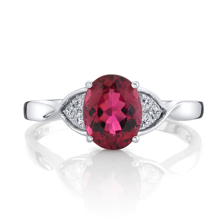 14K 2.09 Cts Rubellite 0.14 Cttw VS Diamond Ring - TVON