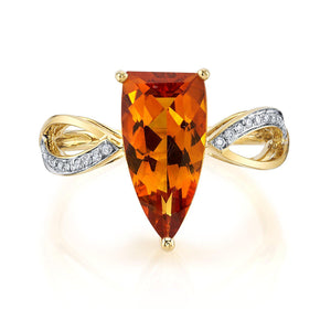 14K 2.30 Cts Citrine 0.07 Cttw VS Diamond Ring - TVON.com