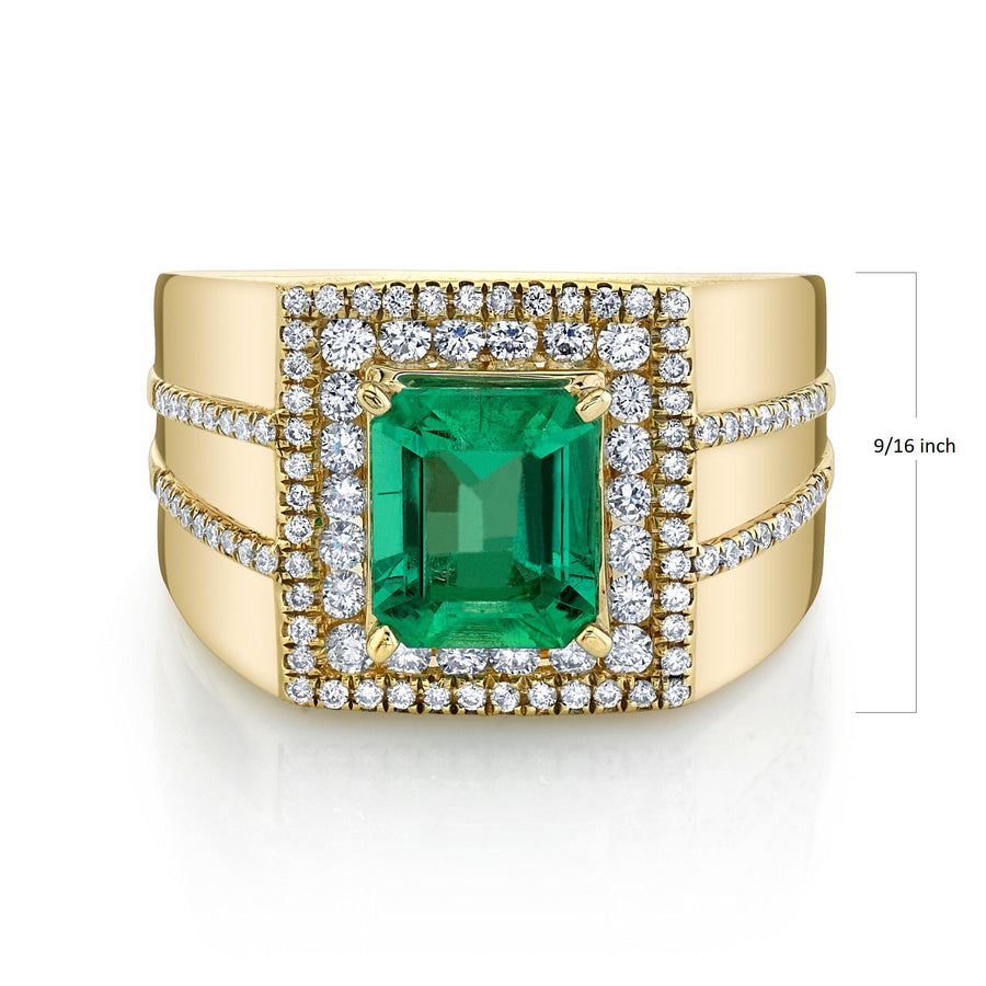 14K 2.01 Cts Colombian Emerald 0.68 Cttw VS Diamond Ring - TVON.com