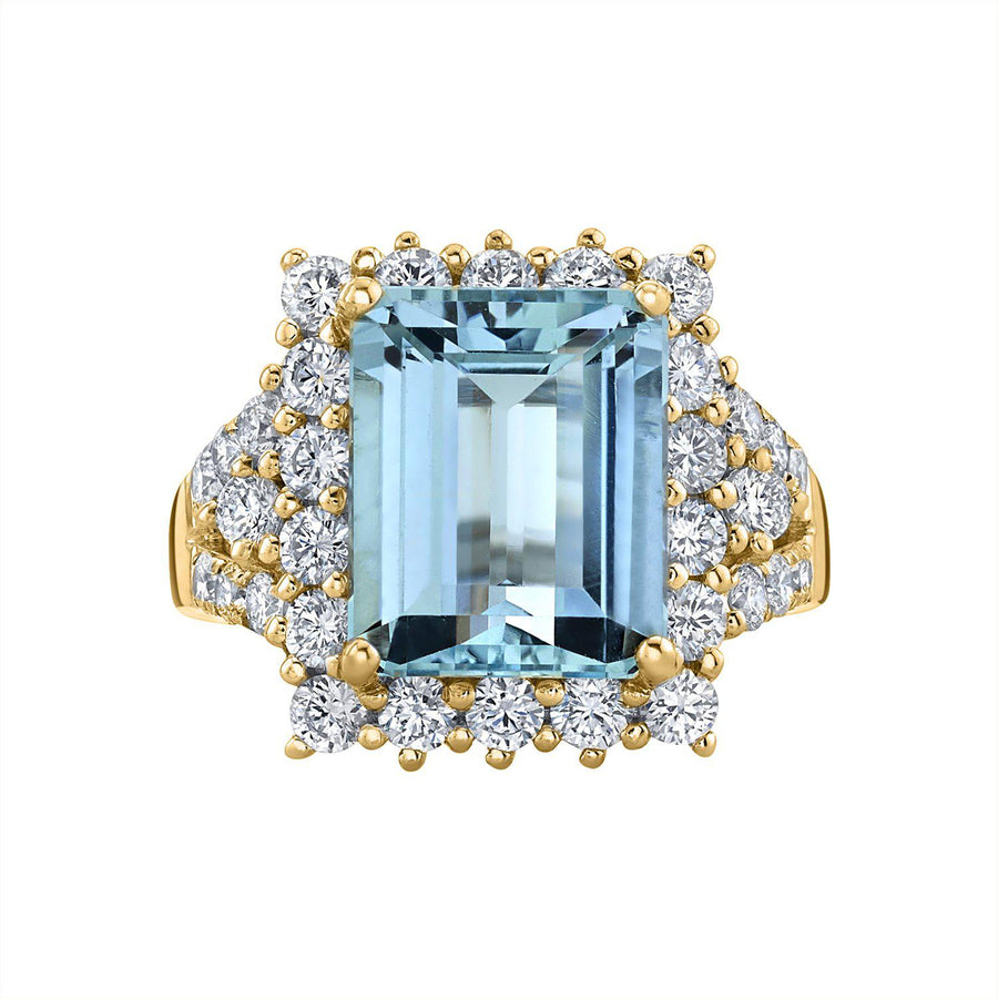 14K 4.09 Cts Santa Maria Aquamarine 1.12 Cttw VS Diamond Ring - TVON.com