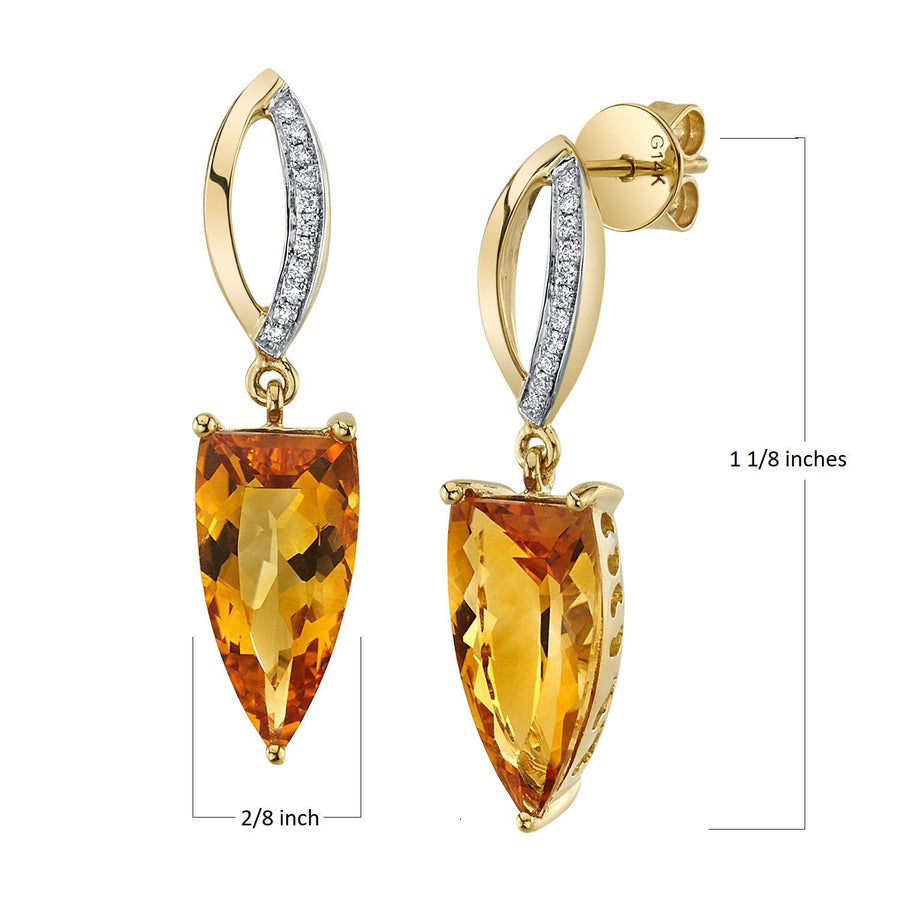 14K 4.60 Cts Citrine 0.08 Cttw VS Diamond Earrings - TVON.com