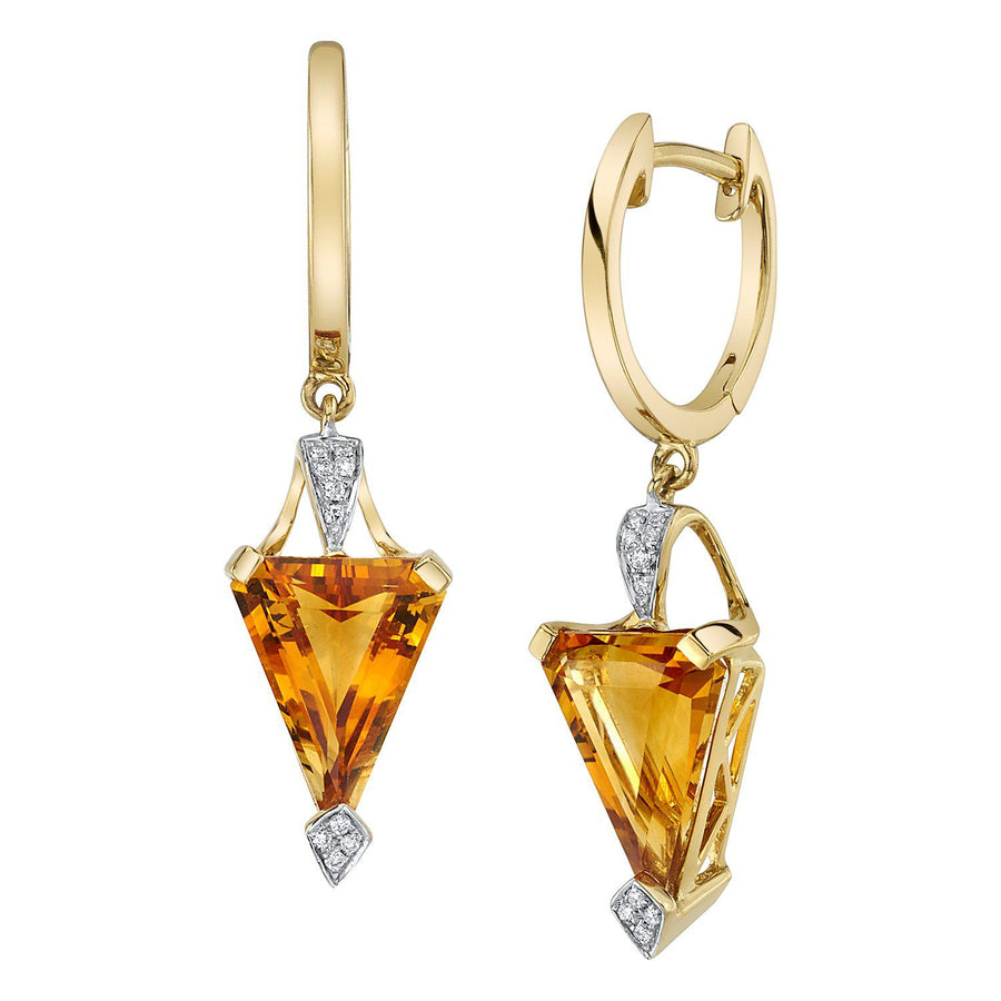 14K 4.09 Cts Citrine 0.05 Cttw VS Diamond Earrings - TVON.com