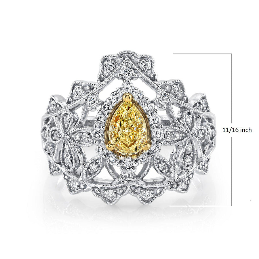 14K 0.54 Cts Yellow Diamond 0.44 Cttw VS Diamond Ring - TVON.com