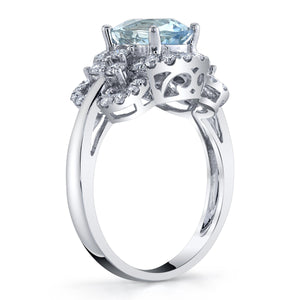 14K 1.39 Cts Santa Maria Aquamarine 0.58 Cttw VS Diamond Ring - TVON.com