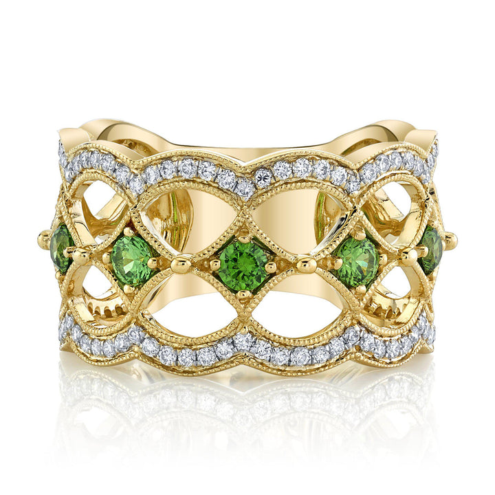 14K 0.88 Cts Russian Demantoid 0.41 Cttw VS Diamond Ring - TVON