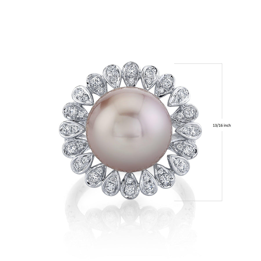 14K 12mm Freshwater Pink Pearl 0.58 Cttw VS Diamond Ring