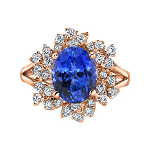 14K 4.06 Cts Tanzanite 0.69 Cttw VS Diamond Ring