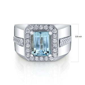 14K 3.05 Cts Santa Maria Aquamarine 0.53 Cttw VS Diamond Ring - TVON.com