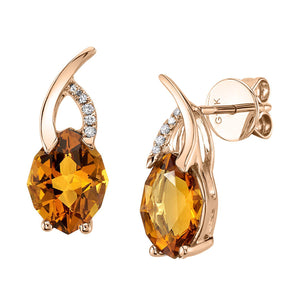 14K 2.61 Cts Citrine 0.03 Cttw VS Diamond Earrings - TVON.com