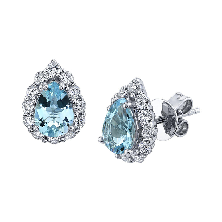 14K 1.14 Cts Santa Maria Aquamarine 0.58 Cttw VS Diamond Earrings - TVON.com