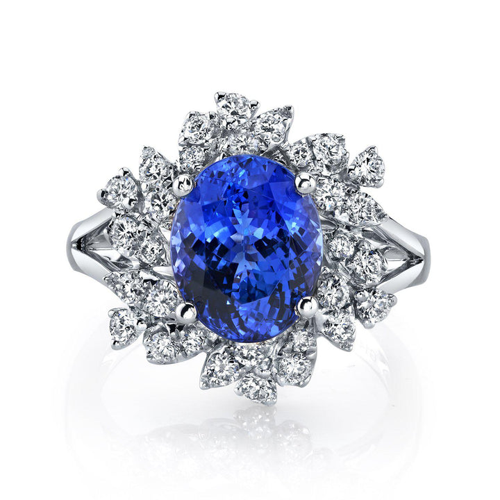 14K 4.06 Cts Tanzanite 0.69 Cttw VS Diamond Ring - TVON
