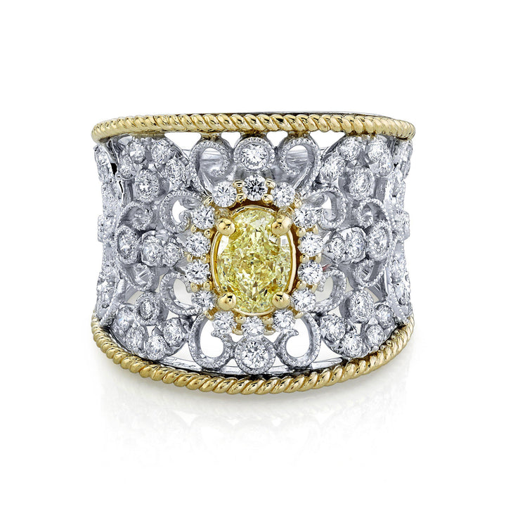 14K 0.55 Cts Yellow Diamond 0.71 Cttw VS Diamond Ring - TVON.com