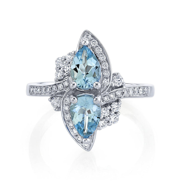 14K 1.04 Cts Santa Maria Aquamarine 0.35 Cttw VS Diamond Ring - TVON.com
