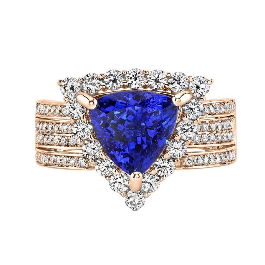 14K 3.09 Cts Tanzanite 1.04 Cttw VS Diamond Ring - TVON.com