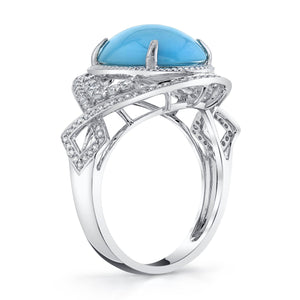 14K 3.77 Cts Turquoise 0.43 Cttw VS Diamond Ring - TVON.com
