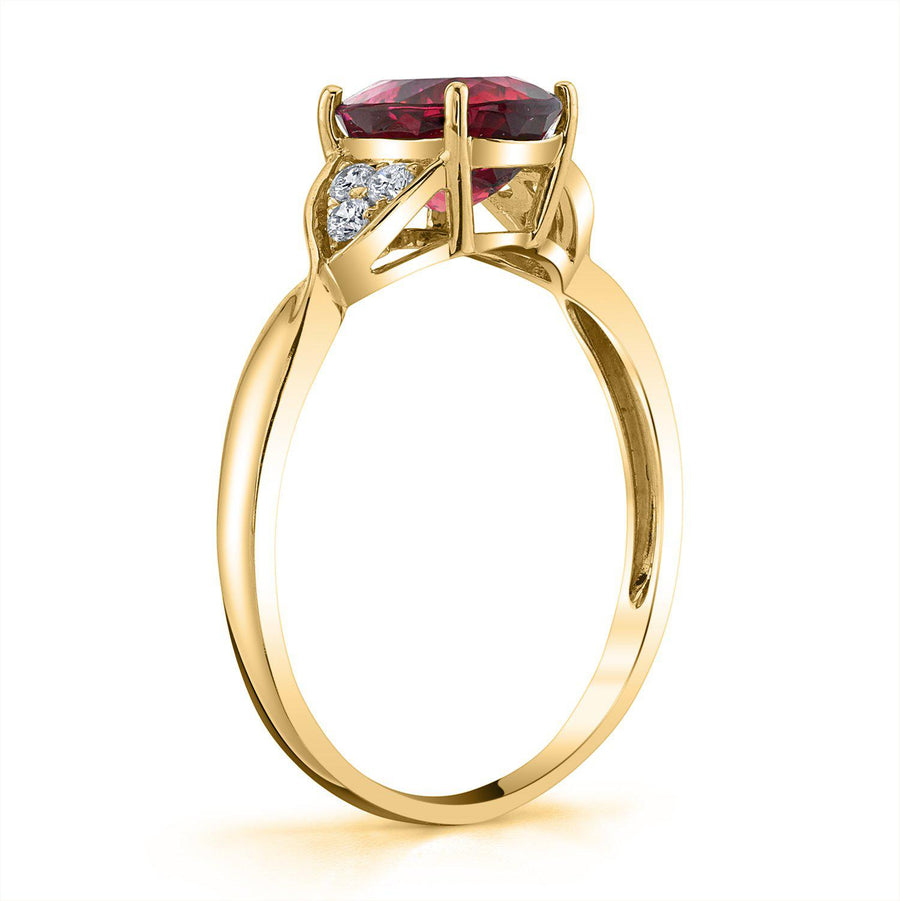 TVON - 1.88Cts Oval Rubellite Gemstone and Diamonds Accent Ring for Women in 14K Gold - SR10565