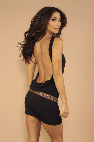 Sleeveless classic backless dress - Black