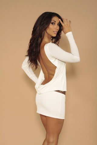 Classic backless dress - off white