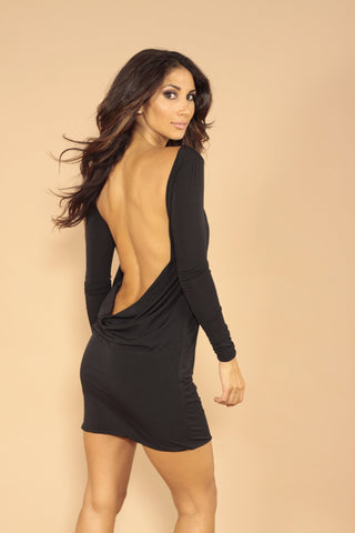 Classic backless dress - black