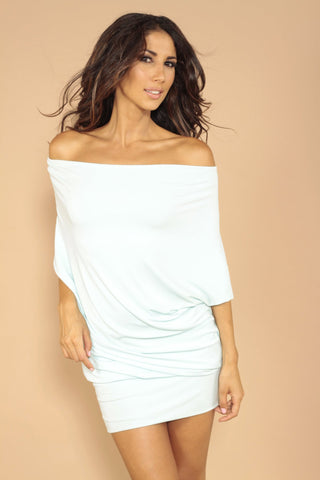 Wide neck dress - off white