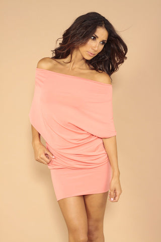 Wide neck dress - Coral