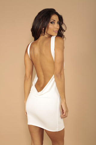 Sleeveless classic backless dress - Off white