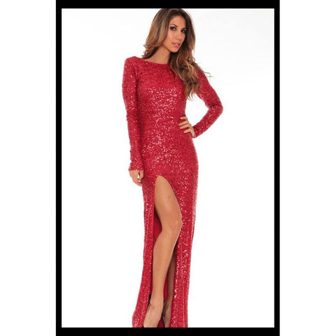Long classic backless dress- Red sequin