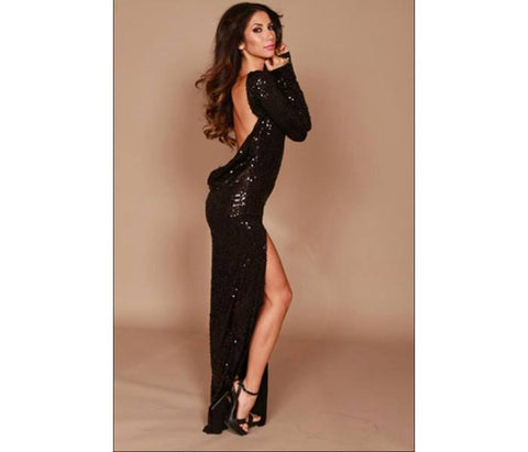 Long classic backless dress- Black sequin