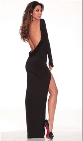 Long classic backless dress- Black
