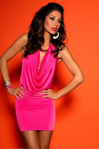 Pink Backless Chain Dress
