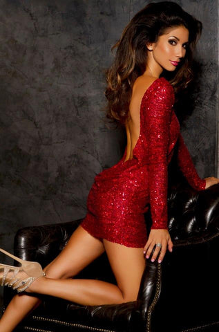 Leiluna Collection Classic backless dress - Red sequin