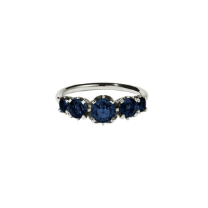 9ct White Gold Signature 5 Stone Ring - Blue Sapphire