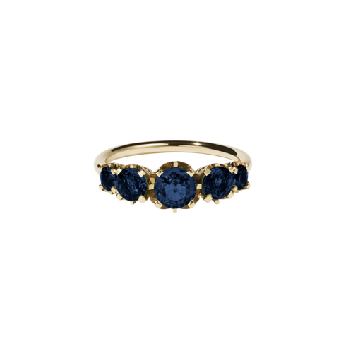 9ct Gold Signature 5 Stone Ring - Blue Sapphire