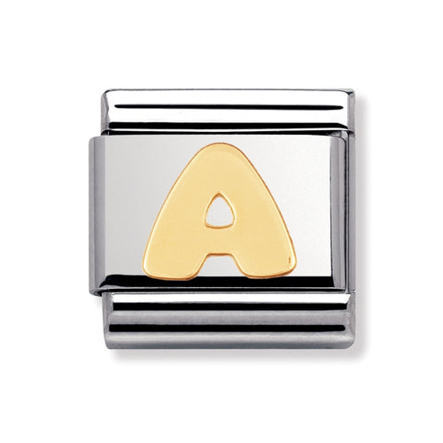 Stainless Steel and 18ct Gold Letter A Link
