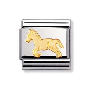 Stainless Steel and 18ct Gold Horse Link