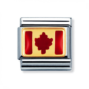 Stainless Steel Enamel 18ct Gold Canada Flag Link