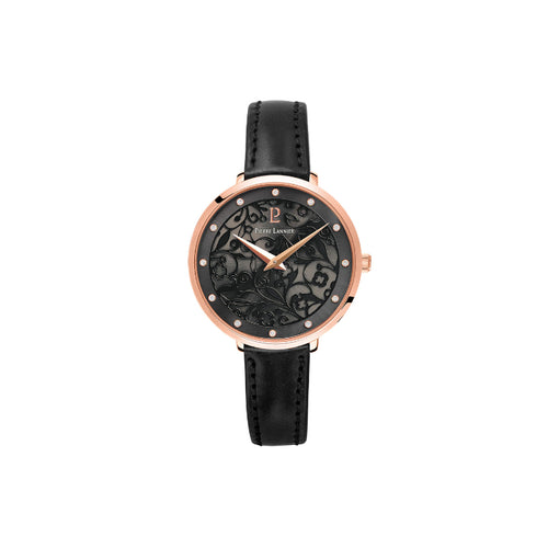 Eolia Rose Gold Black Black Leather Watch