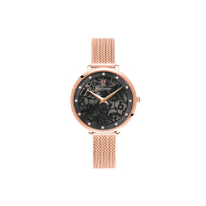 Eolia Rose Gold Black Rose Gold Mesh Watch